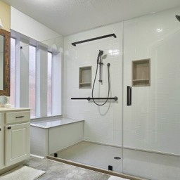 large walk in shower remodel by the Bath Kitchen Pros