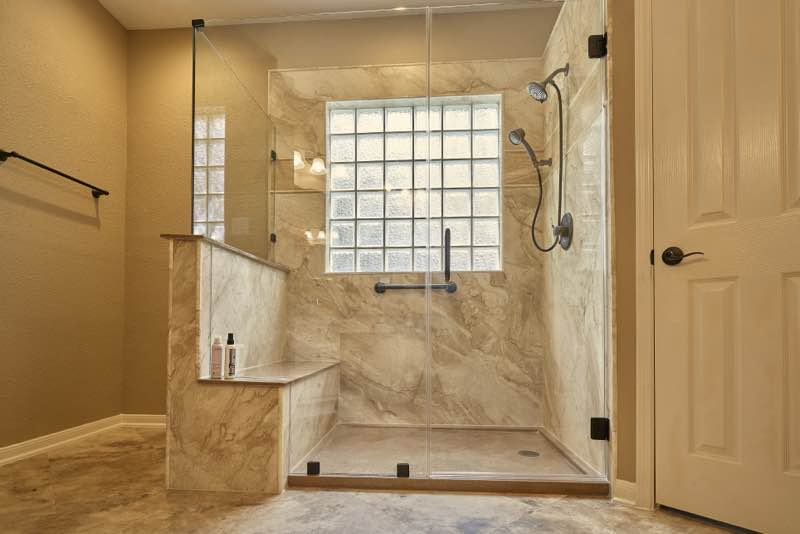 Shower Remodel In  The Woodlands TX Using Natural Stone
